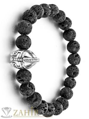 Ластична гривна от естествен вулканичен камък 8 мм с металнен шлем, в 3 размера - MA1060