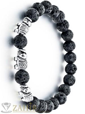 Ластична гривна с три сребристи слончета и вулканичен камък 8 мм, в 3 размера - MA1070
