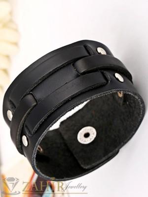 Класическа черна кожена гривна с капси - 21 см, широка 3,5 см - MG1127