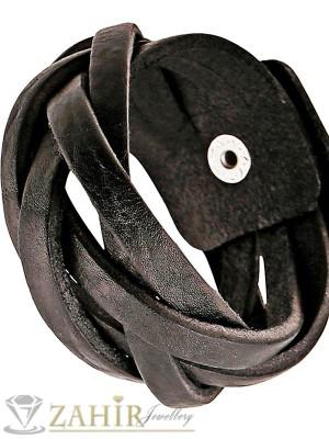 Изчистена черна кожена преплетена гривна 21 см, широка 3,5 см - MG1128