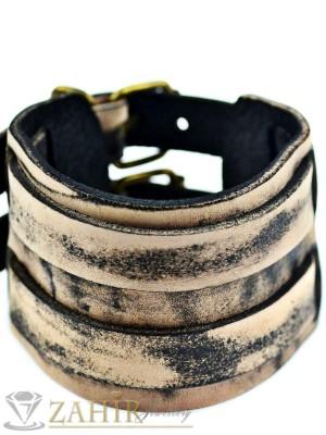 Класическа кожена гривна с протрит ефект 26 см, широка 5 см, регулираща се - MG1131