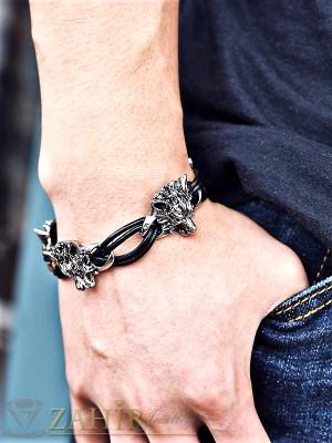 Интересна черна кожена гривна с елементи вълк от стомана, дълга 20,5 см - MG1132