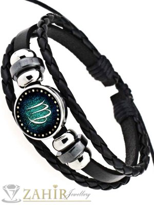 Черна кожена гривна с две лица от стомана зодия Дева, регулираща се дължина - MG1150