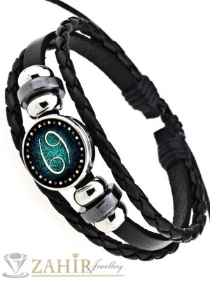 Черна кожена гривна с две лица от стомана зодия Рак, регулираща се дължина - MG1154