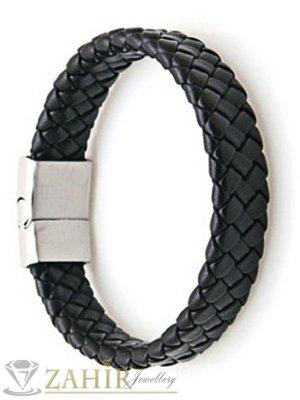 Тънка черна кожена плетена гривна 20 см, широка 0,8 см - MG1169