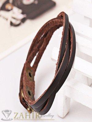 Тъмно кафява гривна от естествена кожа 21 см, 3 степени на закопчаване - MG1170