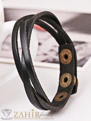 Черна гривна от естествена кожа 21 см, 3 степени на закопчаване - MG1171