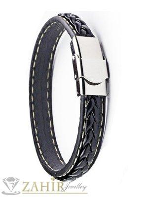 Черна кожена гривна 20 см с плетка и стоманена закопчалка - MG1172