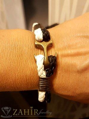 Двойна черно-бяла кожена гривна тип въже със закопчалка старинна котва, 3 размера - MG1175