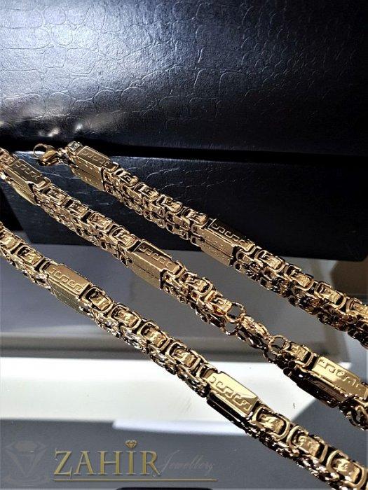 Красив позлатен стоманен комплект римска плетка с плочки ланец 60 см и гривна 22 см, широки 0,6 смм - ML1240