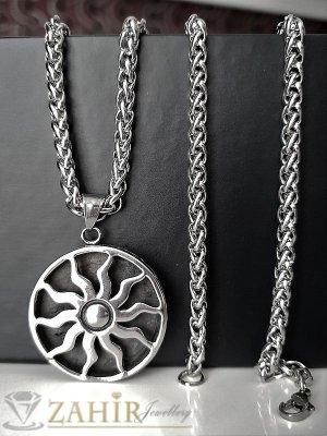 Красив гравиран медальон с 2 лица от стомана 3,5 см на класически стоманен ланец 60 см- ML1225