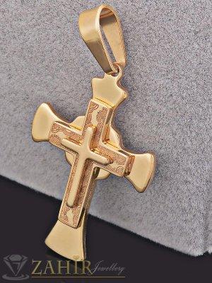 Класически позлатен кръст 4,5 см на тънък позлатен ланец 50 см - ML1240