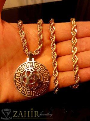Елегантен стоманен медальон 3,5 см на позлатен ланец 60 + 5 см - ML1264
