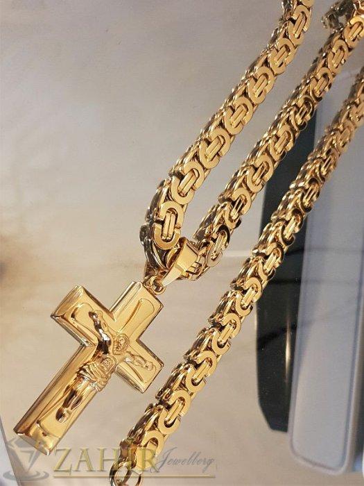Бижута за мъже - Актуален позлатен ланец  60 см римска плетка с кръст 6 см от неръждаема стомана, широк 0,7 см - ML1255