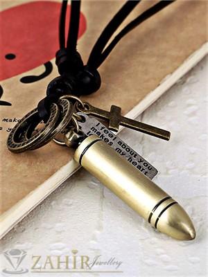 Регулиращо се кожено колие с висулка бронзов куршум - 5см и елементи - MP1063