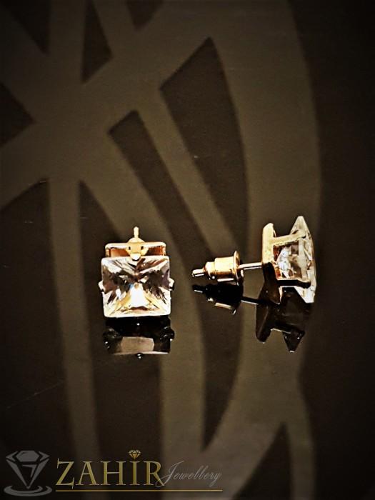 Класически обеци с голям 0.9 см фасетиран циркон и златно покритие, на винт - O2292