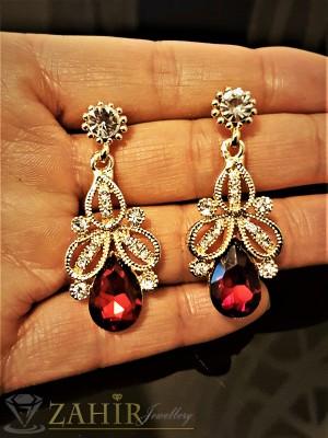 Изящно изработени висящи 4 см обеци с червен кристал и златно покритие, на винт - O2293