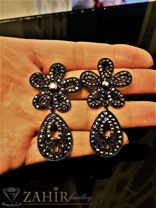 Изящни гравирани черни обеци цветя - 5 см с графитени кристали, на винт - O2300