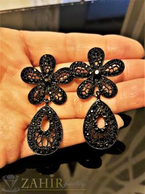 Изящни гравирани черни обеци цветя - 5 см с черни кристали, на винт - O2301