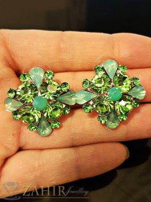 Кристални обеци цветя 2,7 см със зелени кристали, златно покритие, на винт - O2328