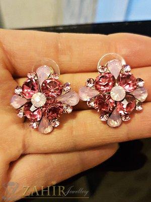 Кристални обеци цветя 2,7 см с розови кристали, златно покритие, на винт - O2332