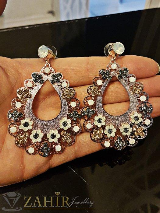 Луксозни обеци 6 см с блестящи цветни кристали, златно покритие, на винт - O2333