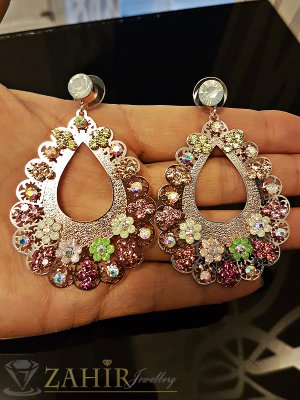 Луксозни обеци 6 см с блестящи цветни кристали, златно покритие, на винт - O2334
