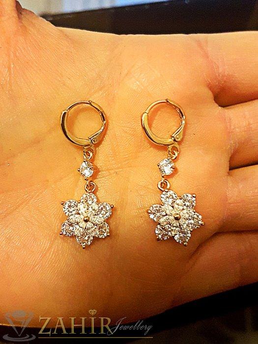 Луксозни висящи 4 см обеци с кристално цвете, златно покритие, английско закопчаване - O2340