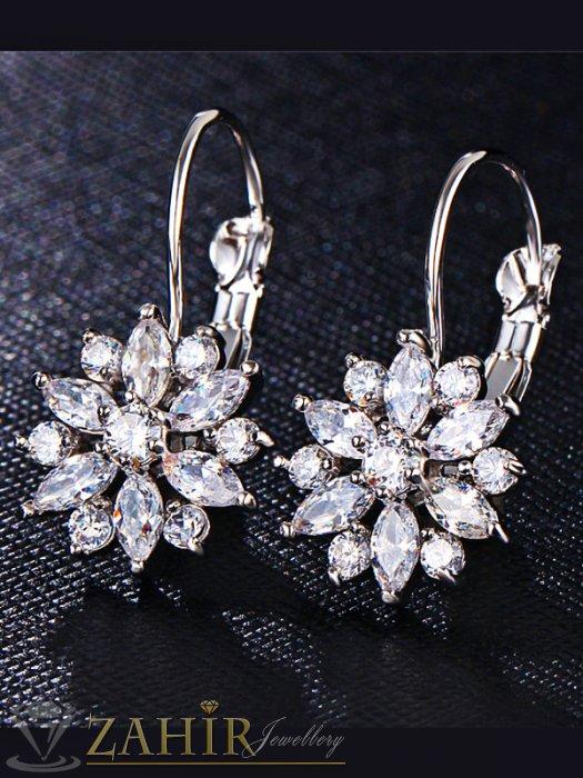 Изящно изработени кристални обеци цветя - 3 см, сребърно покритие - O2349