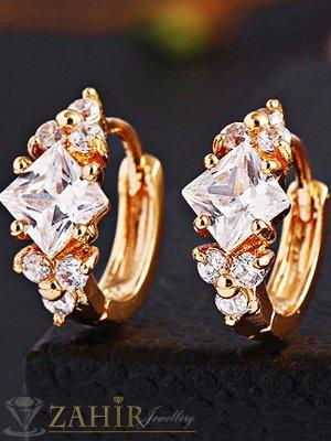 Много нежни малки позлатени халки - 1, 2 см с блестящи циркони, златно покритие - O2350