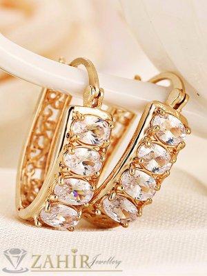 Луксозни гравирани халки - 2,3 см с 4 циркона, златно покритие, английско закопчаване - O2351