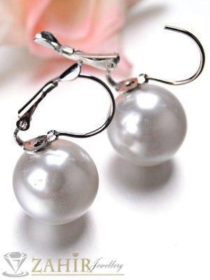 Класическа обеца с голяма 1, 5 см бяла перла, сребърно покритие, френско закопчаване - O2372
