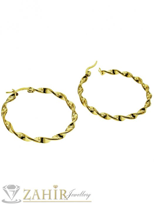 Тънки позлатени стоманени спираловидно завити халки 4 см, английско закопчаване - O2374
