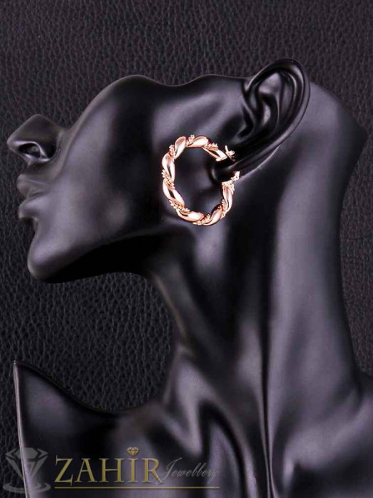 Висококачествени спираловидно завити халки 3,5 см в златно покритие, английско закопчаване - O2395