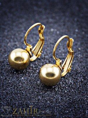 Класически позлатени стоманени обеци 2 см с метално топче 0,8 см, френско закопчаване - O2404