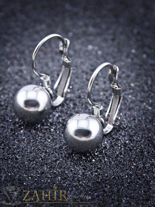 Класически стоманени обеци 2 см с метално топче 0,8 см, френско закопчаване - O2405