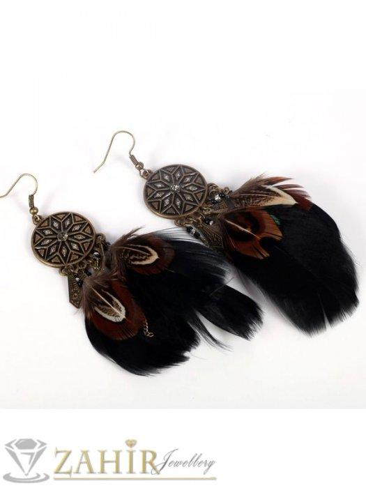 Великолепни висящи обеци 10 см с естествени черни пера в цвят старинно злато - O2411