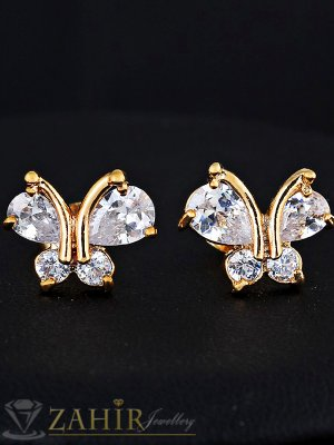 Великолепни обеци кристални пеперуди 1,3 см, златно покритие, на винт - O2414