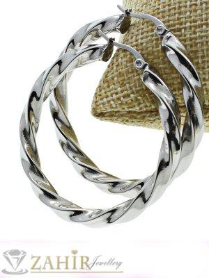 Непроменящи цвета си стоманени спираловидни завити халки, диаметър 6 см - O2419
