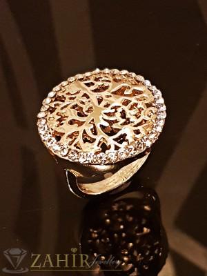 Красиво гравиран пръстен Дървото на живота с кристали и златно покритие - P1430