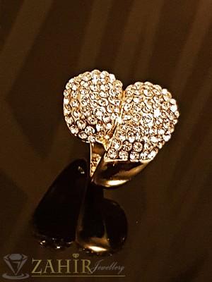 Масивен двоен пръстен с блестящи кристали и златно покритие - P1431
