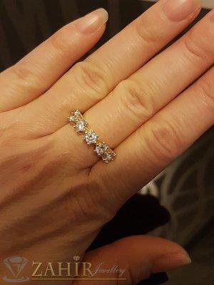 Елегантен романтичен пръстен с 5 фасетирани циркона и златно покритие - P1436