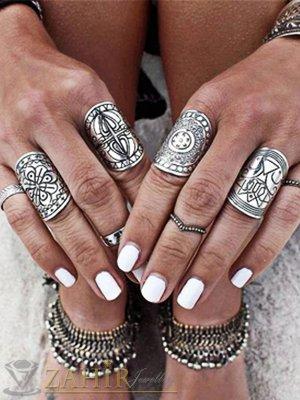 Оригинален комплект от 4 броя гравирани пръстени 6 и 7 размер , сребърно покритие - P1443