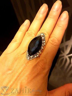 Масивен пръстен с голям син кристал, циркони и златно покритие - P1458