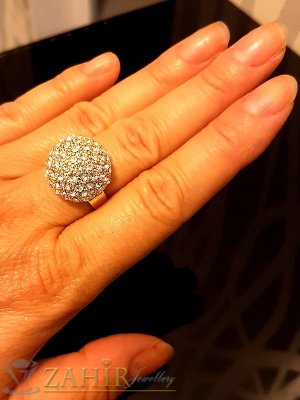 Стилен регулиращ се пръстен с кристална топка и златно покритие - P1459