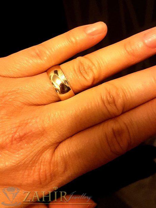 Класическа изчистена позлатена халка, подходяща за сватбени ритуали - P1463