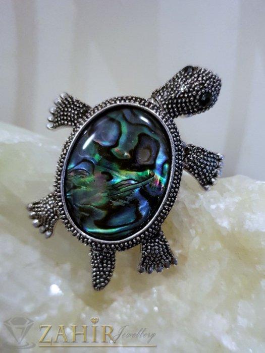 Дамски бижута - Изящна брошка костенурка от мексикански седеф 5 см с движещи се крайници - B1084