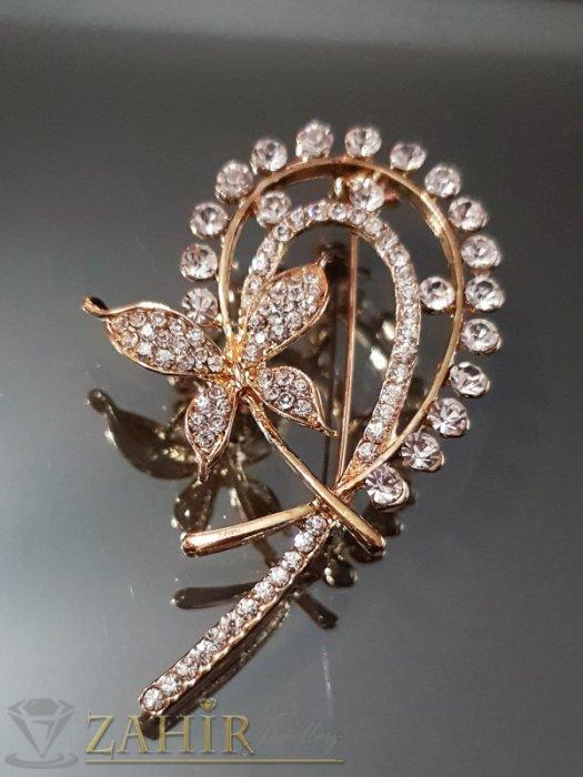 Изкусителна брошка с бели кристали и пеперуда, дълга 6 см, широка 3,5 см, златно покритие - B1090