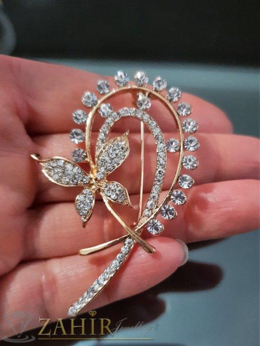 Дамски бижута - Изкусителна брошка с бели кристали и пеперуда, дълга 6 см, широка 3,5 см, златно покритие - B1090