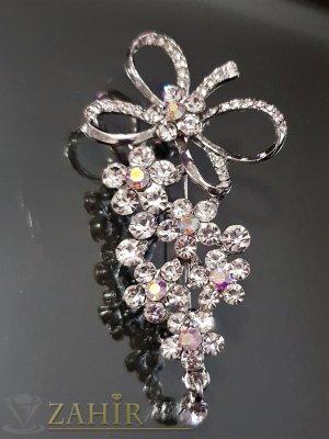 Блестящ кристален букет от цветя с бели циркони на брошка 7 см, сребърно покритие - B1091